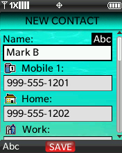 Contacts menu with focus on selecting New Contact