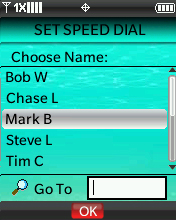Set Speed Dial Choose Name screen