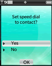 Set Speed Dial confirmation screen