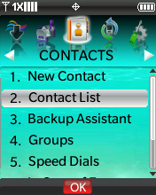 Contacts menu with focus on selecting Contact List