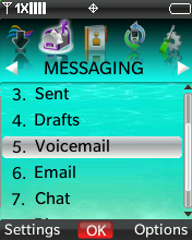 Messaging menu with focus on selecting Voicemail