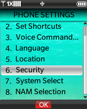 Phone Settings menu with focus on selecting Security