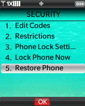Security menu with focus on selecting Restore Phone