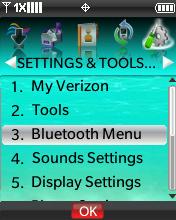 Menú Settings & Tools con Bluetooth Menu seleccionado