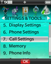 Settings & Tools menu with focus on selecting Call Settings