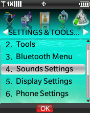Settings & Tools menu with focus on selecting Sound Settings