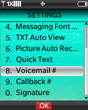 Settings menu with focus on selecting Voicemail #