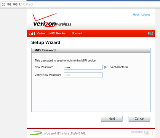 setup wizard password