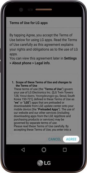 Terms and conditions agreement