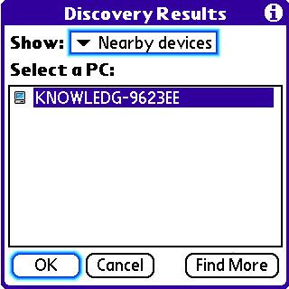 Discovery Results with appropriate device