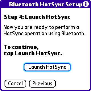 Bluetooth HotSync setup step 4