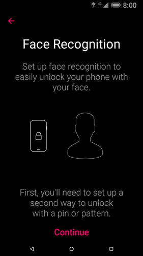 Face recognition setup start