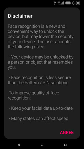 Face recognition disclaimer