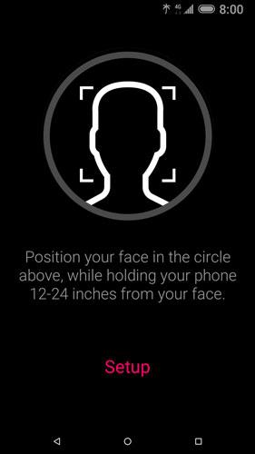 Face recognition setup position message