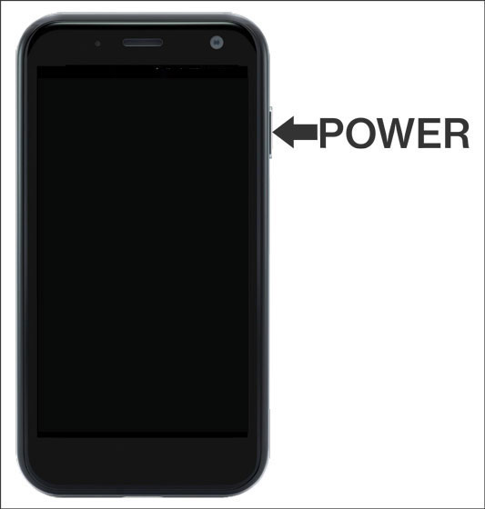 Device with emphasis on Power button