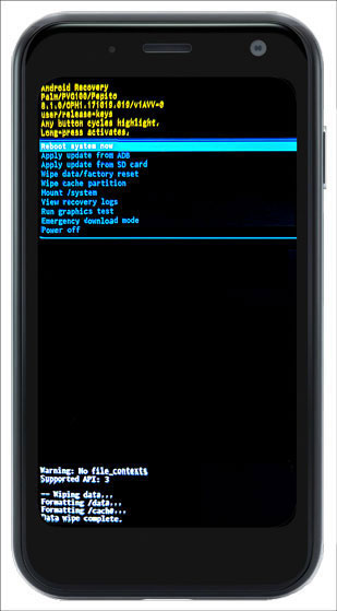 Android Recovery Screen with Data wipe complete message and emphasis on Reboot system now