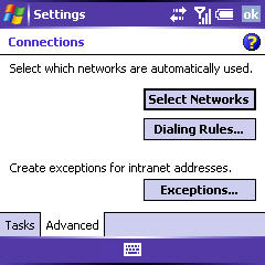 Connections screen with Advanced