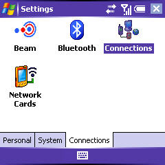 Settings screen with Connections highlighted