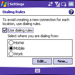 dialing rules screen with the option enabled