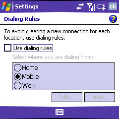dialing rules screen with the option disabled