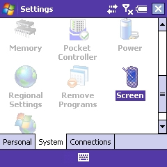 System tab with screen selected
