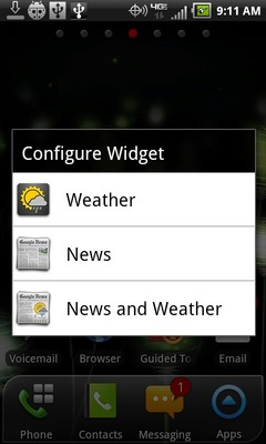 If presented, select the widget style