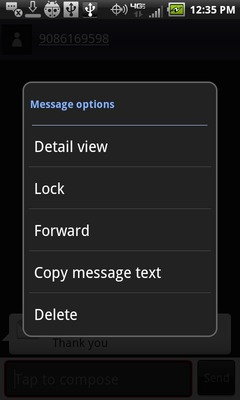 Select the message option