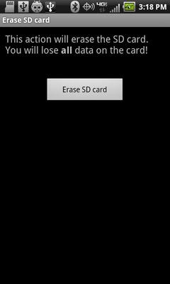 Selecciona Erase SD card