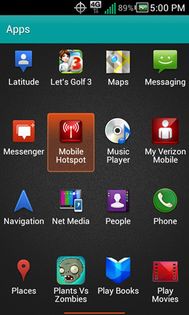 App menu with Mobile Hotspot