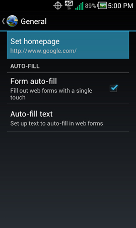 General settings with Set homepage