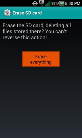 Pantalla Erase SD card y opción Erase everything
