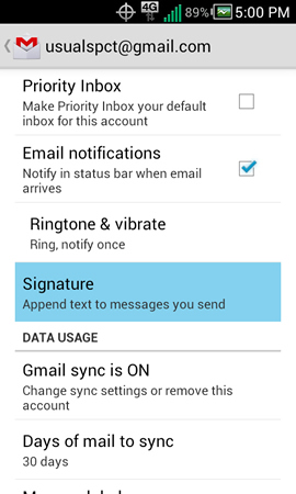 Gmail settings with Signature