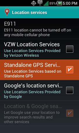 "Location services con ""Standalone GPS Services"""