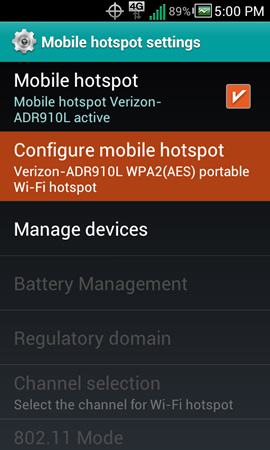 Mobile hotspot settings with Configure mobile hotspot