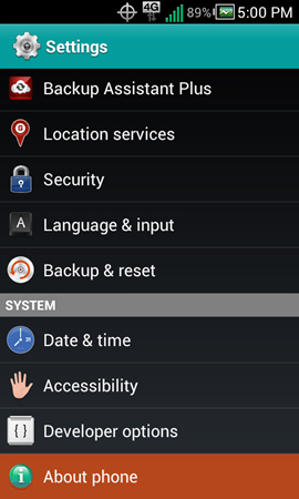 Settings with About phone