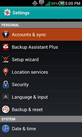 Settings y Accounts & sync