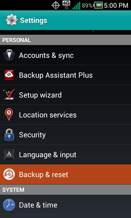 Settings with Backup & reset