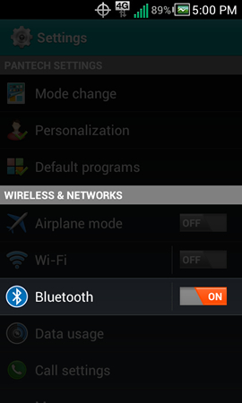 Settings with Bluetooth ON / OFF switch
