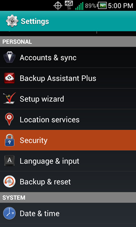 Settings with Security