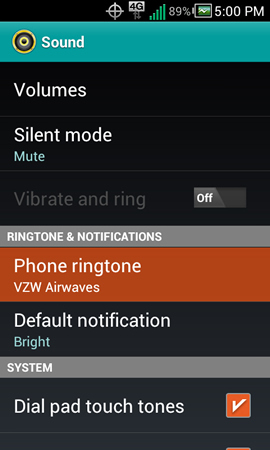Sound settings with Phone ringtone