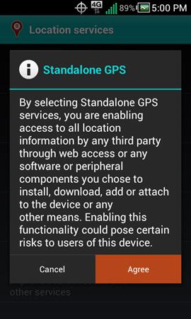 "Nota legal de Standalone GPS Services con ""Agree"""
