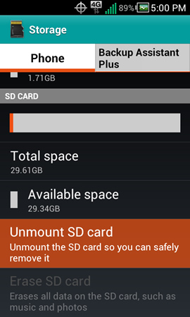 Storage with Unmount SD card
