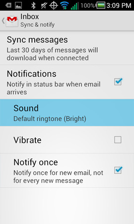 Sync and notification settings with Sound