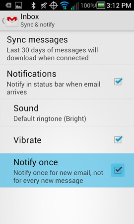 Gmail settings with Notify once