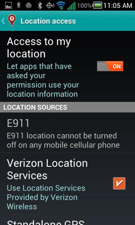 En la pantalla Location Access, Access to my location, On