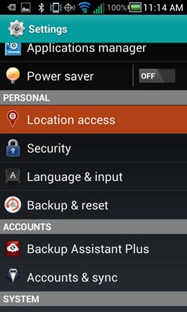 En la pantalla Settings, accede a Location