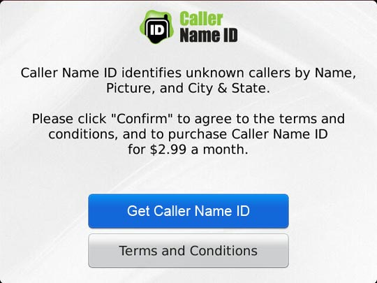 Get Caller Name ID button highlighted