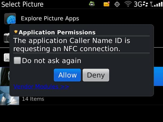 Application permissions with allow highlighted