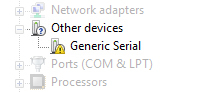 Pantalla Device Manager con Other Devices - Generic Serial