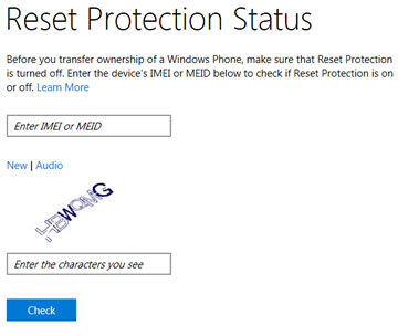 Reset Protection Status Website page